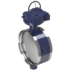Butterfly valves with gears and actuators